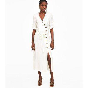 Zara Button Down Wrap Tie Slit Midi Dress White SM